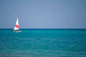 Small Sailboats on Mediterranean sea.