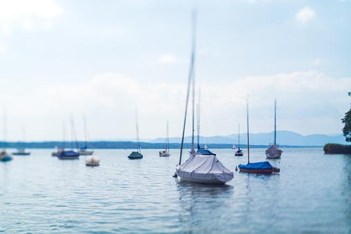 Small sailing boats on lake, Switzerland