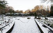 A small scenic garden covered by snow in Victoria Park, Aberdeen, Scotland. Photo taken in the morning after unusual snowfall in December 2017.