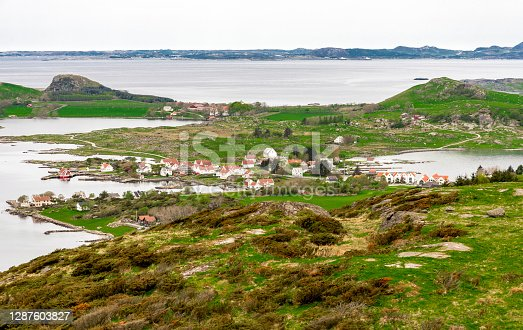 A small scenic village on Klosteroy island, Rennesoy kommune, near Stavanger, Norway, May 2018