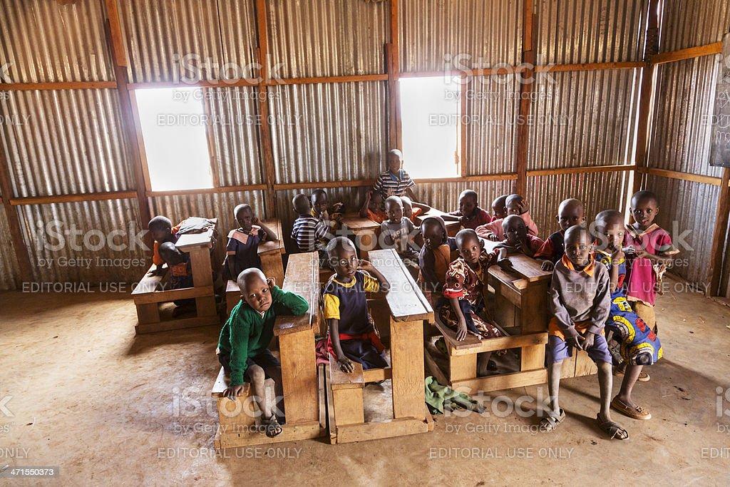 Small school in maasai land. stock photo