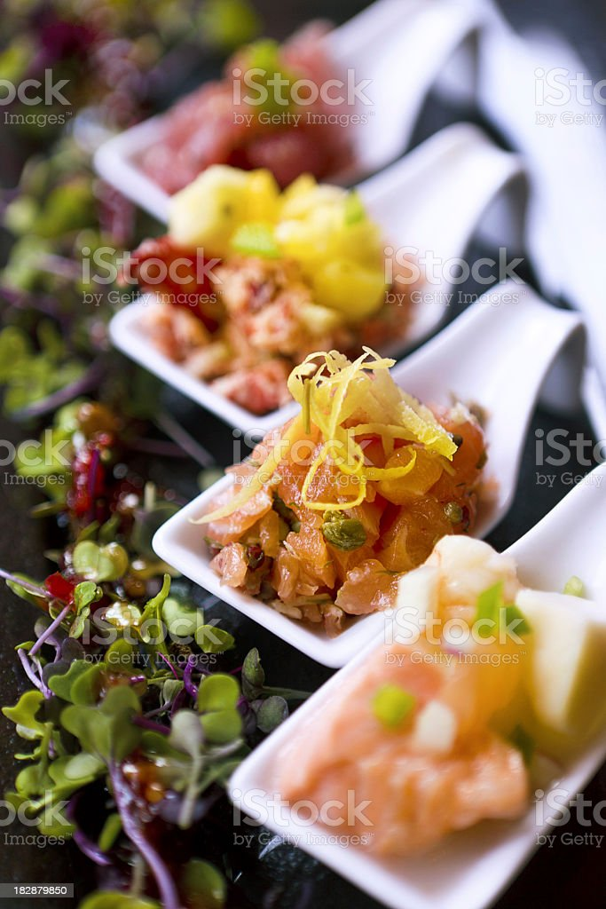 small seafood portions stock photo