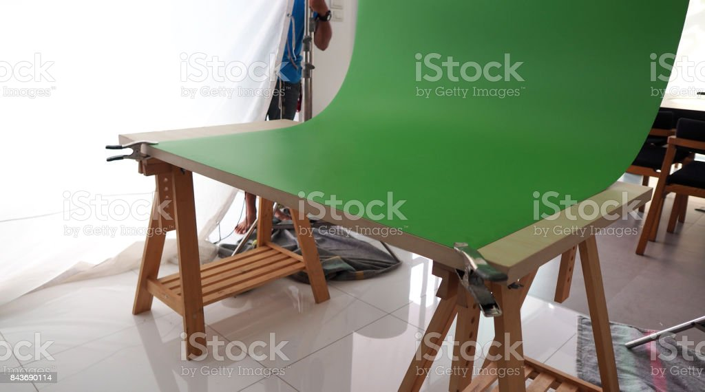 Small set of green screen background in studio stock photo
