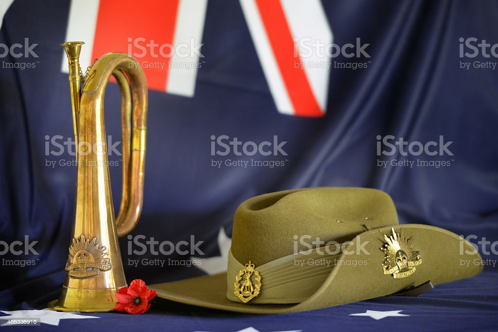 A small set up to celebrate Anzac Day stock photo
