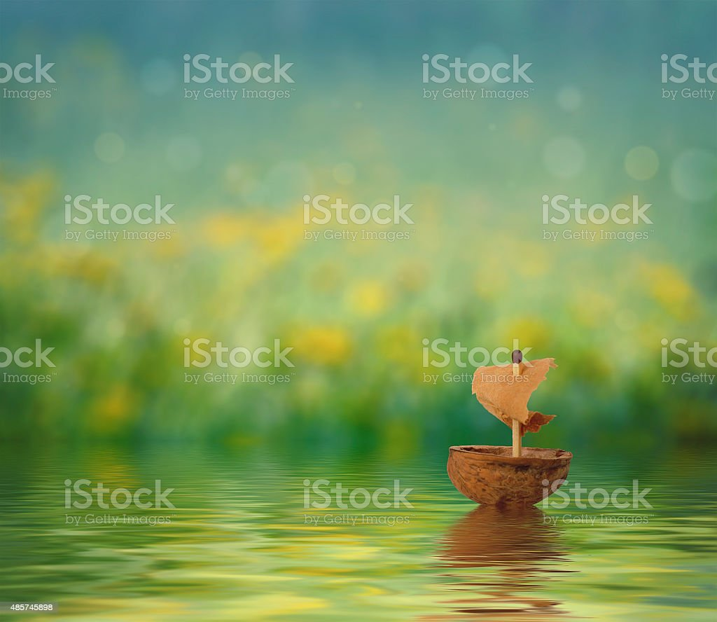 small ship nutshell stock photo