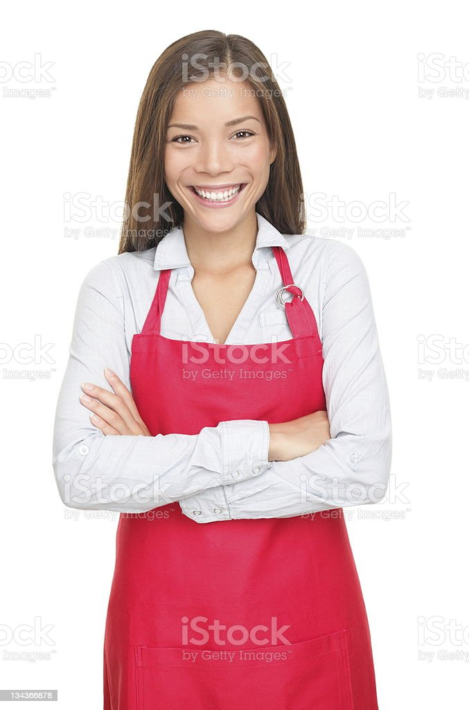 Small shop owner / sales clerk isolated royalty-free stock photo