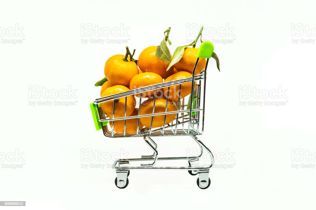 small shopping cart with many clementines and tangerines stock photo