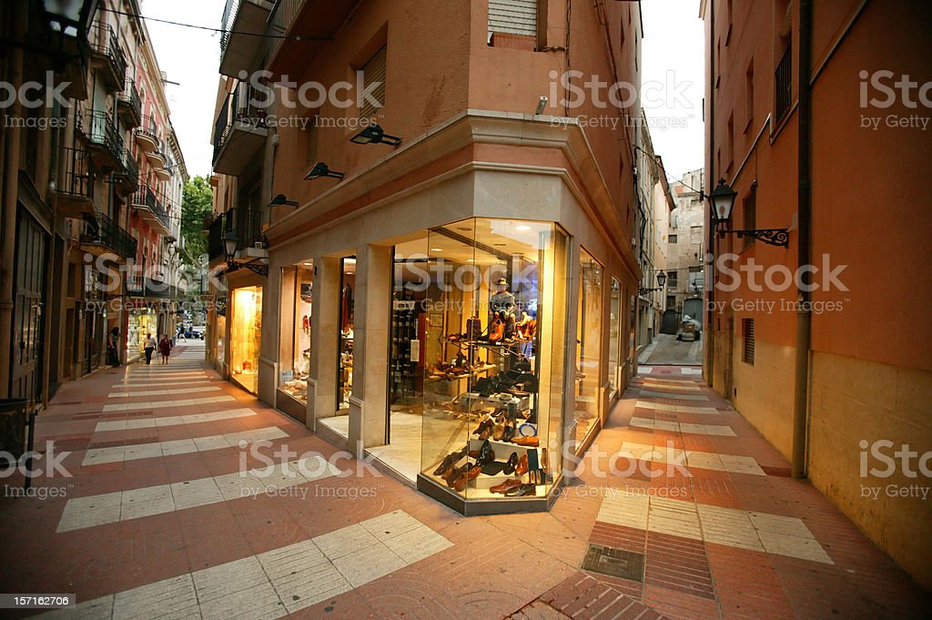 Small Shopping Street Figueras Spain Europe royalty-free stock photo