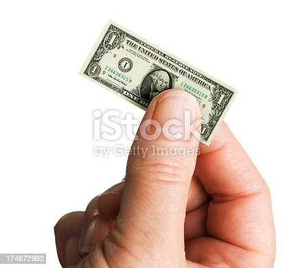 Subject: A hand holding a shrinking U.S. dollar note isolated on a white background.