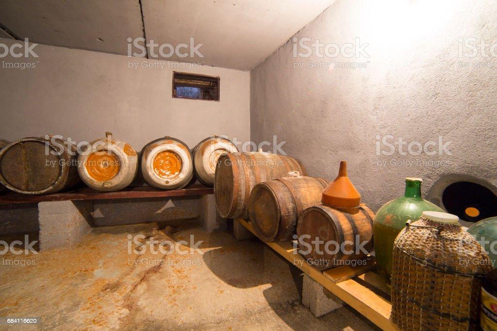 Small simple wine vault at the farmhouse zbiór zdjęć royalty-free
