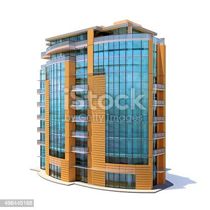 istock Small sized apartment building, isolated on white background 496445168