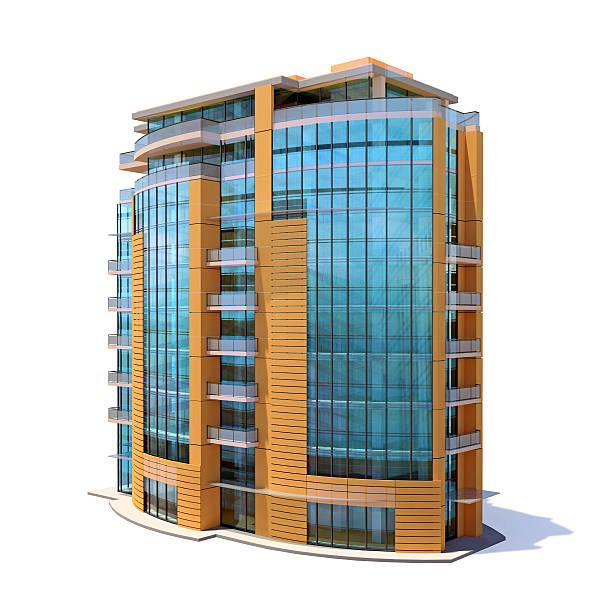 Kleine großen apartment-Gebäude, isoliert auf weißem Hintergrund – Foto