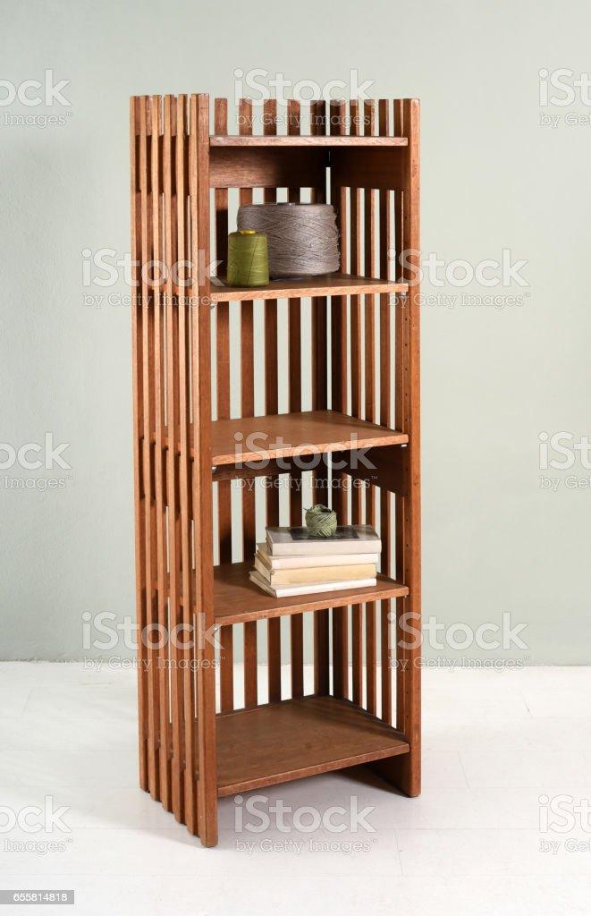Small slatted wood etagere stock photo
