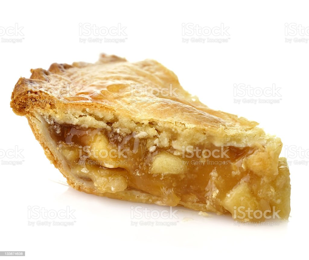 Small slice of apple pie with crust on top stock photo