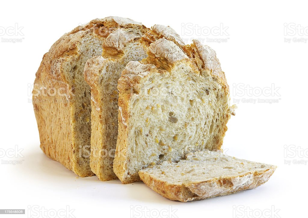 small sliced Artisan bread loaf stock photo