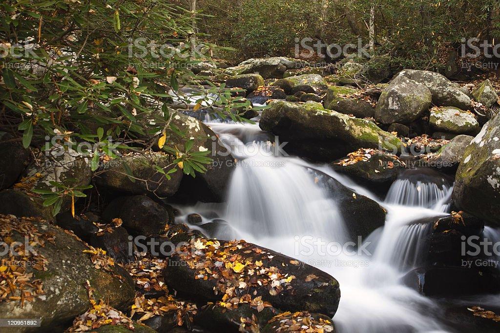 Small Smokies Waterfall at Autumn royalty-free stock photo