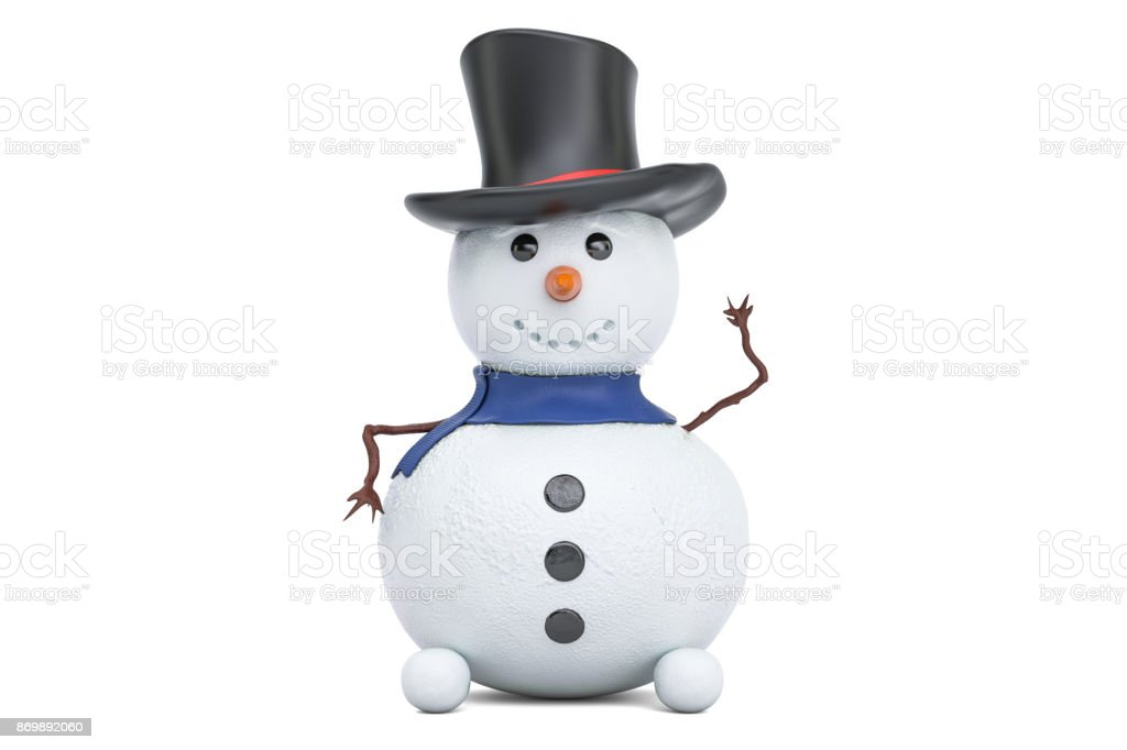 Small Snowman, 3D rendering isolated on white background stock photo