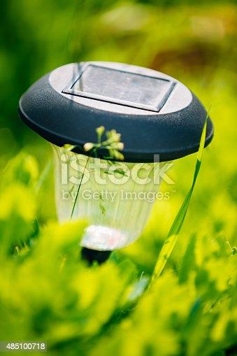 498598201 istock photo Small Solar Garden Light, Lantern In Flower Bed. Garden Design. 485100718