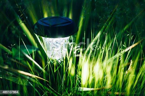 498598201 istock photo Small Solar Garden Light, Lantern In Flower Bed. Garden Design. 485107864