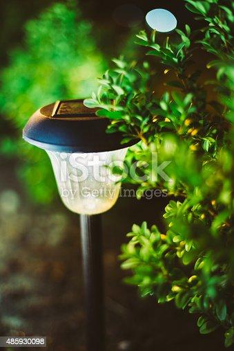 498598201 istock photo Small Solar Garden Light, Lantern In Flower Bed. Garden Design. 485930098