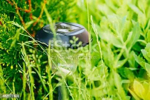 498598201 istock photo Small Solar Garden Light, Lantern In Flower Bed. Garden Design. 487177404