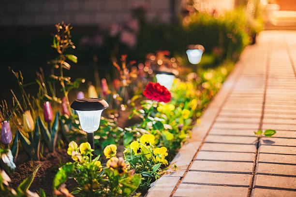 Kleine Solar Garden Tageslicht, Laterne In Blume Bett. Garten-Design. – Foto