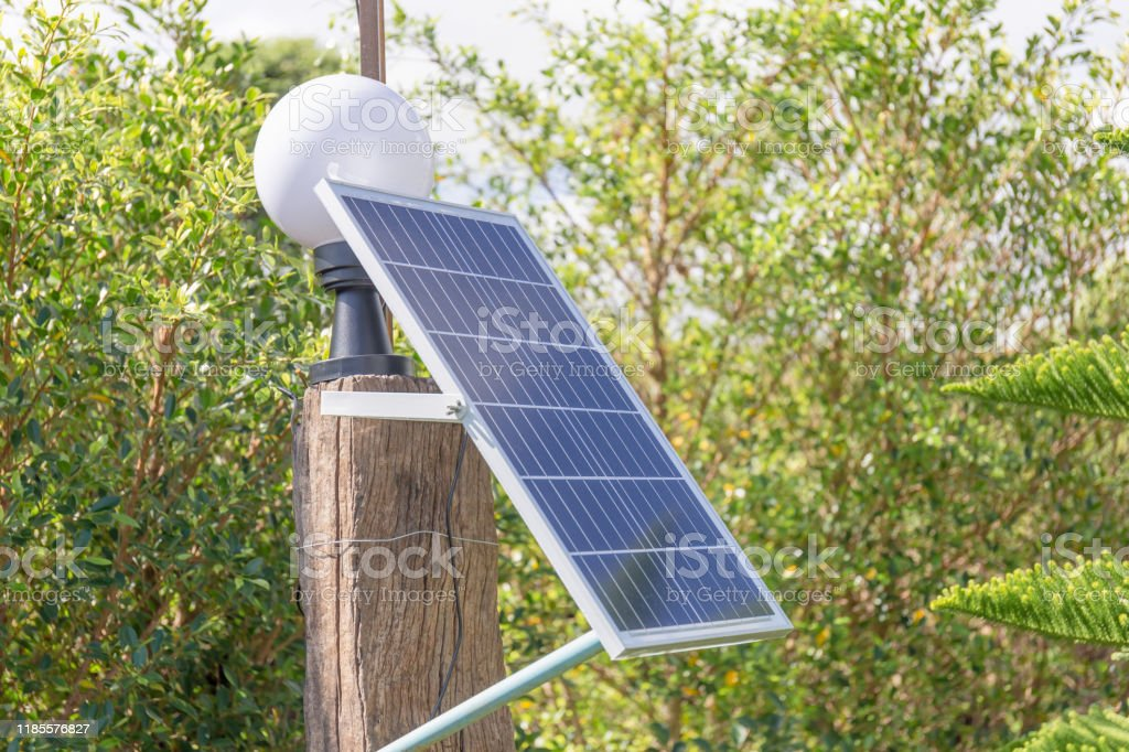 Small Solar Panel Garden Light Bulb In Park Environmental Protection Concept Stock Photo Download Image Now Istock
