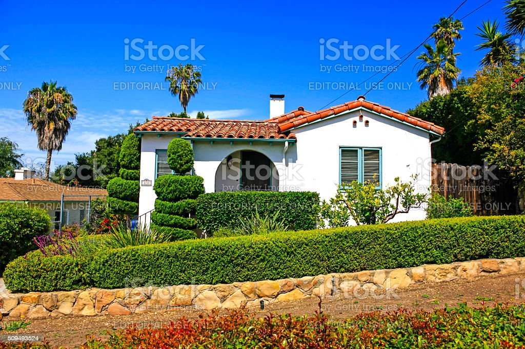 Small Spanish style home in Santa Barbara California stock photo