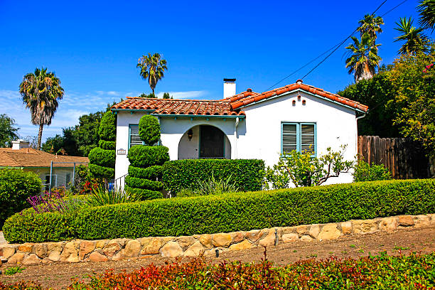 Small Spanish style home in Santa Barbara California Santa Barbara CA, USA - June 26, 2015: Small Spanish style home in Santa Barbara California santa barbara california stock pictures, royalty-free photos & images