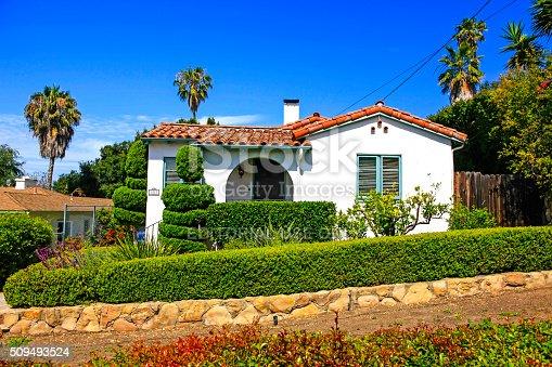 Small spanish style home in santa barbara california stock for Tiny house santa barbara