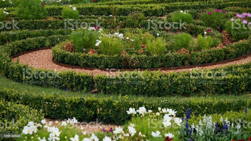 Miniature spiral hedge with stone paths and assortment of flowers...