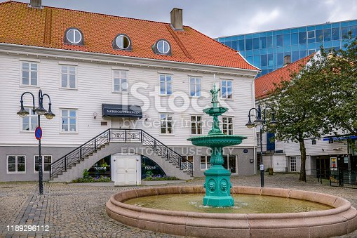 Stavanger, Norway, August 15 - A view of a little square near the touristic port of Stavanger. The city of Stavanger, in the south of Norway, is among the favorite tourist destinations of thousands of tourists, especially visiting cruise ships that sail the routes of northern Europe and the Norwegian coast. Image in HD format.