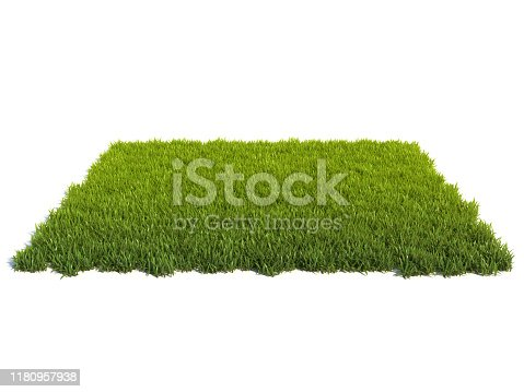 istock Small square surface covered with grass, grass podium, lawn background 1180957938