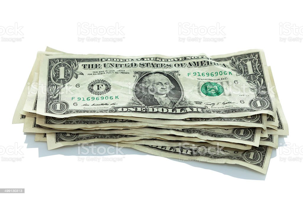 small stack of dollar bills stock photo
