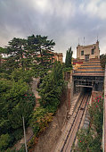 Small station of the Vallvidrera funicular railway with Barcelona at i in Barcelona, CT, Spain