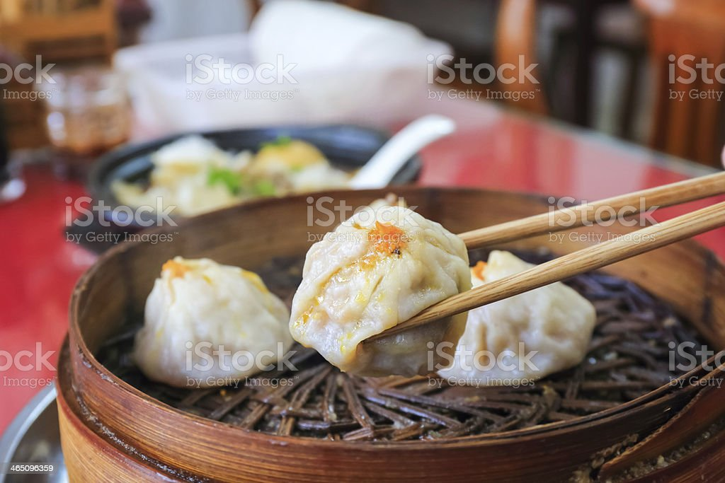 small steamed bun stock photo