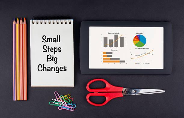 small steps big changes - bedeutungsvolle zitate stock-fotos und bilder