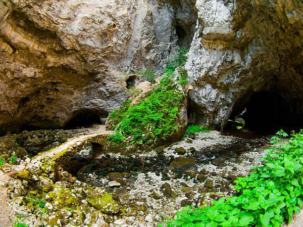 작은 돌 다리 rakov 슈코찬 - 카르스트 지형 뉴스 사진 이미지