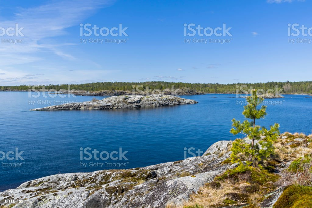 Small stone islands in the Ladoga skerries stock photo