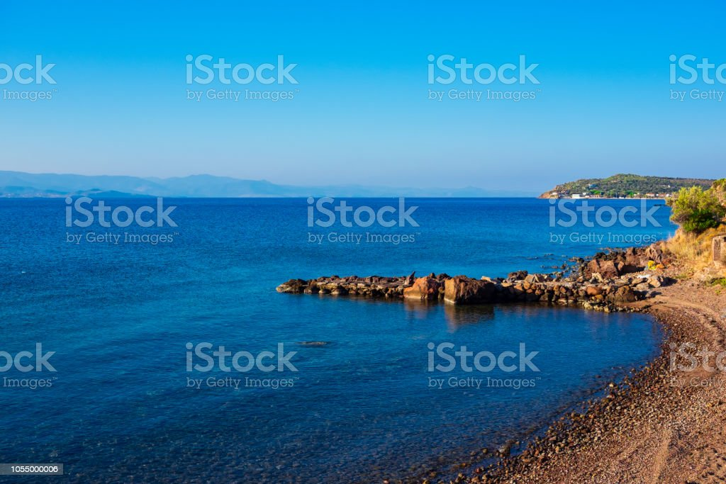 Small stone pier on the seaside of Sivrice stock photo
