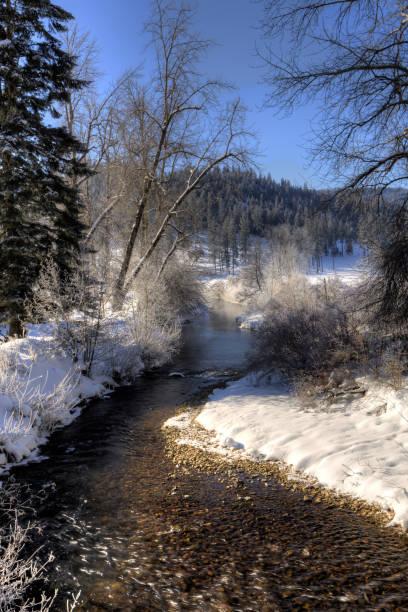 Small stream in winter. stock photo