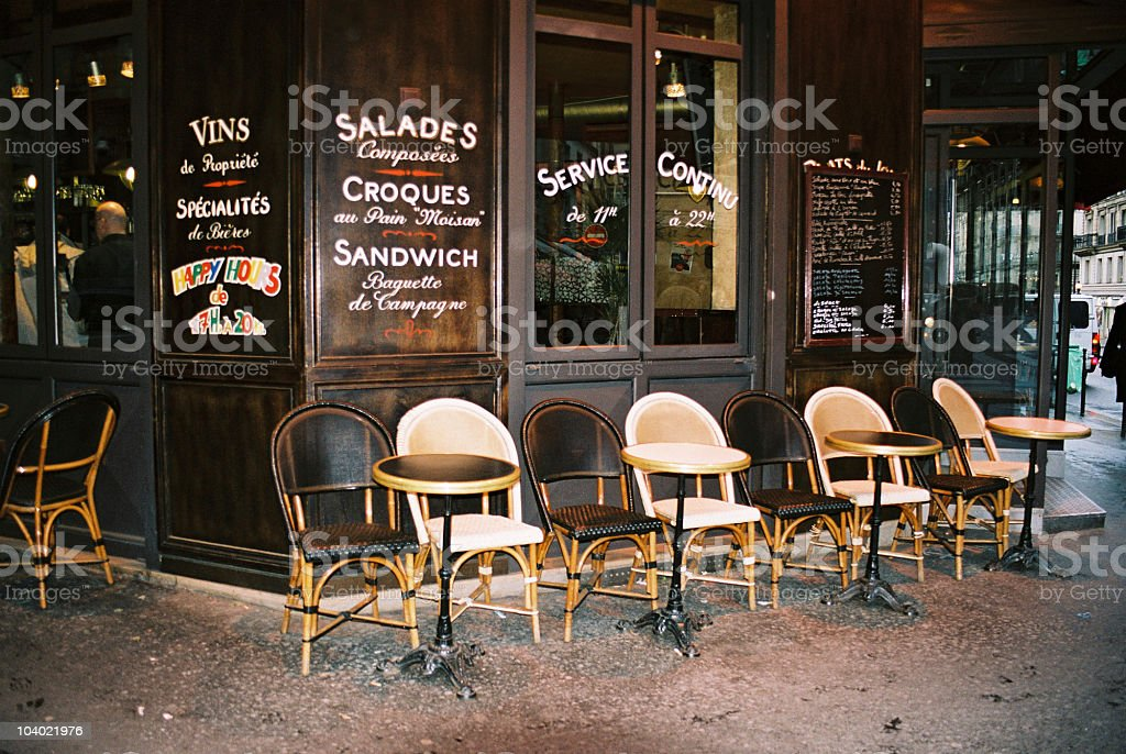 Small street cafe in Paris stock photo