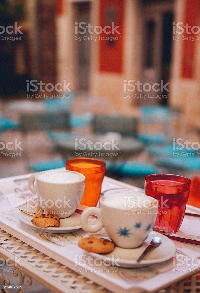 Small street cafe in Rovinj Croatia stock photo