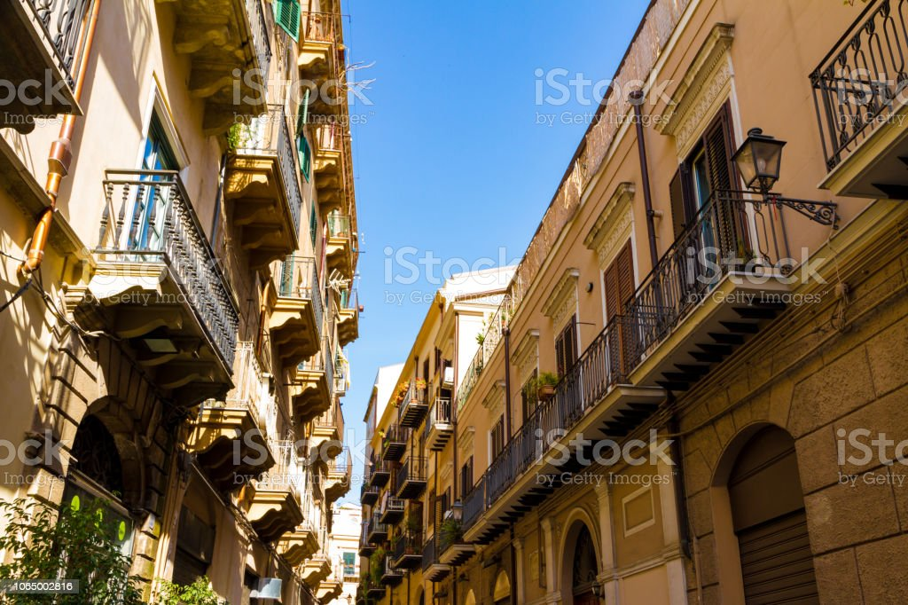 Small street in old Palermo, Italy stock photo
