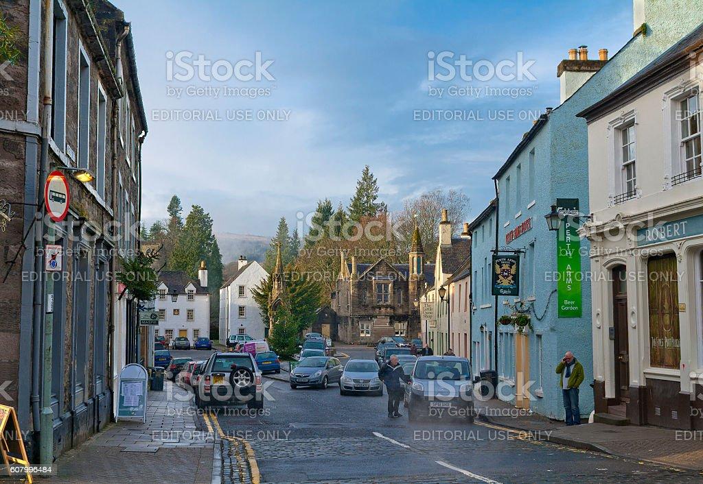 Small street in the center of Dunkeld, Scotland stock photo