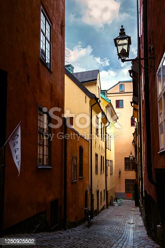 Small street in the Old Town of Stockholm