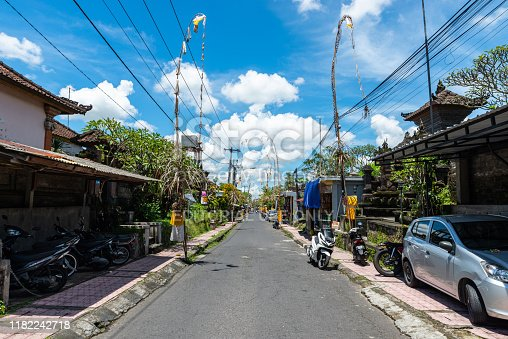 Ubud, Indonesia - Circa March 2019: View of a small empty street in Ubud, Bali.