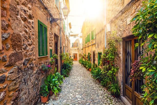 Small street in Valldemossa, Majorca stock photo