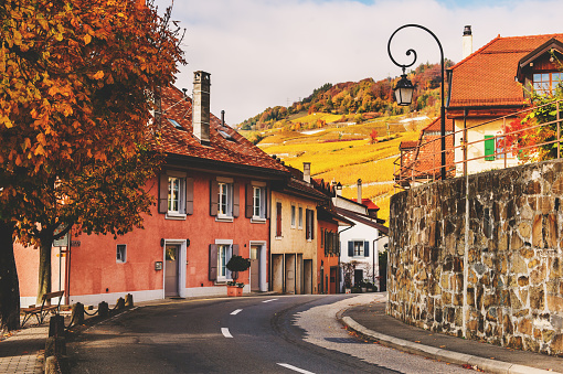 Small streets of swiss medieval village Saint-Saphorin, Lavaux vineyards