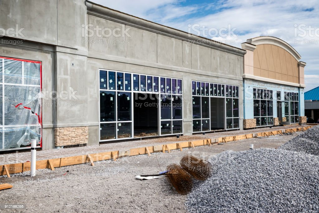Small Strip Retail Center Under Construction stock photo